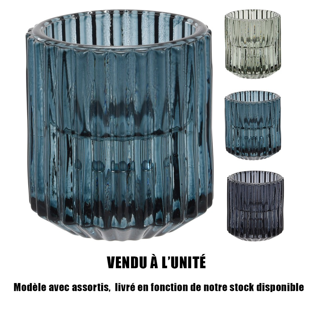 BOUGEOIR VERRE COLORÉ 6CM 3ASS