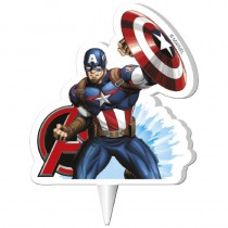 bougie anniversaire captain america 2D pour décoration gâteau