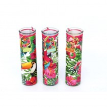 BOUGIE TUBE TROPICAL 6 X 20 CM - 3 ASS