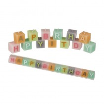BOUGIES CARRÉES HAPPY BIRTHDAY PASTEL