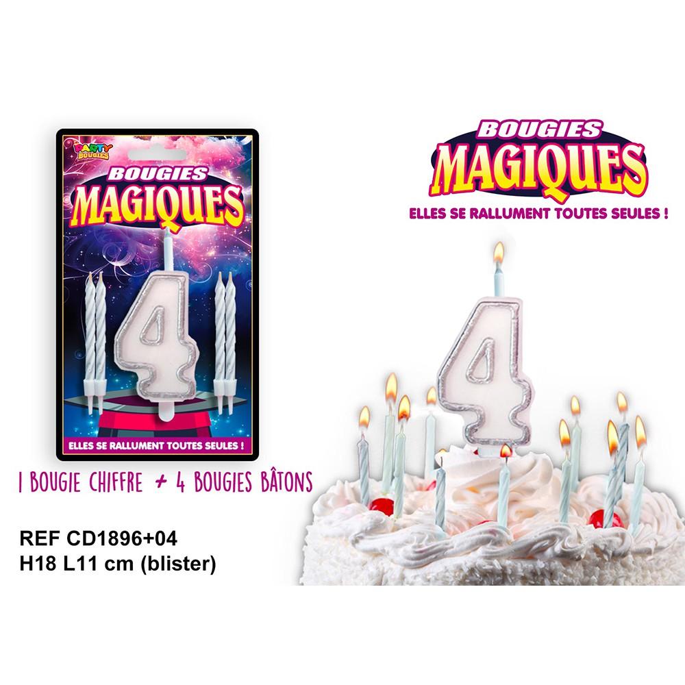 BOUGIES MAGIQUES CHIFFRE 4