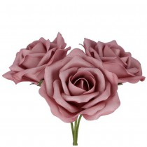 BOUQUET 3 ROSES MOUSSE ROSE ANCIEN 14CM