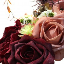BOUQUET 3 ROSES MOUSSE ROSE SAUMON 14CM