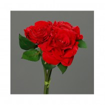 BOUQUET ARTIFICIEL 3 ROSES ROUGE 55CM