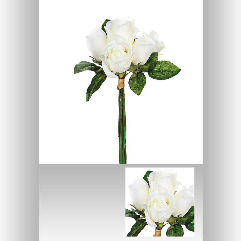 Bouquet de 7 roses blanches 30 cm for Bouquet de roses blanches