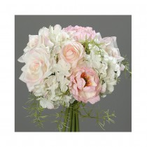 BOUQUET ROND ARTIFICIEL ROSE HORTENSIA 20CM