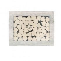 Décoration cadre avec petits coeurs en bois à customiser