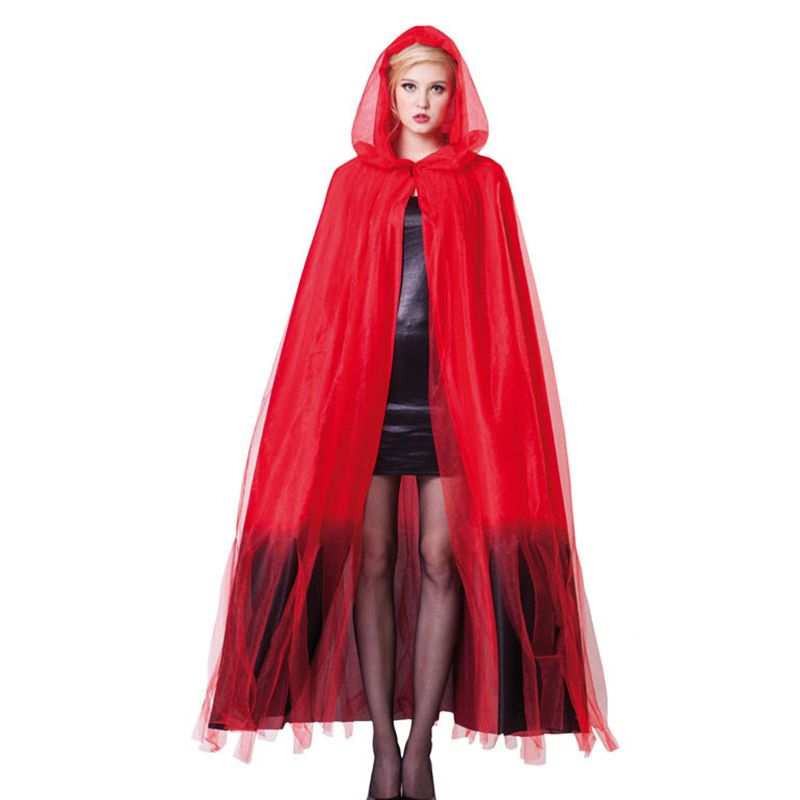 Cape capuche diablesse luxe rouge