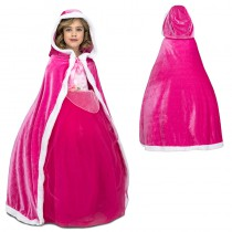 CAPE VELOURS ROSE ENFANT