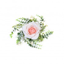 CENTRE DE TABLE ROSE FEUILLAGE ROSE 18CM