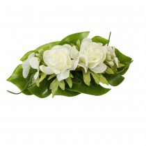 CENTRE TABLE ROSES FEUILLE EXOTIQUE 14X8X4CM BLANC