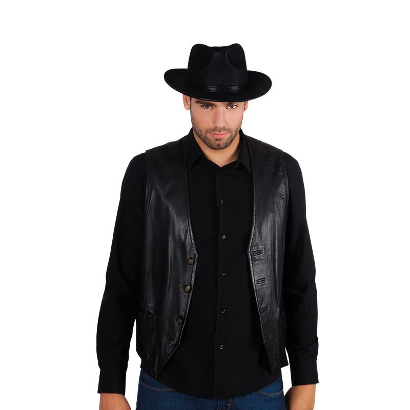 CHAPEAU ALABAMA SIMILI CUIR T58