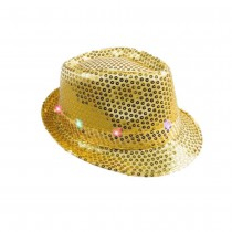 CHAPEAU BORSOLINO 6 LED SEQUIN OR