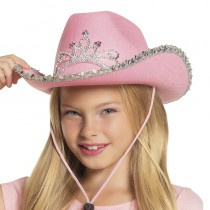 CHAPEAU COW-GIRL ROSE FILLE
