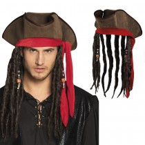 CHAPEAU PIRATE MARRON AVEC DREADLOCKS