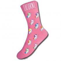 CHAUSSETTE FEMME LICORNE FOND ROUGE