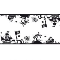 CHEMIN DE TABLE DESSIN PIRATE NOIR