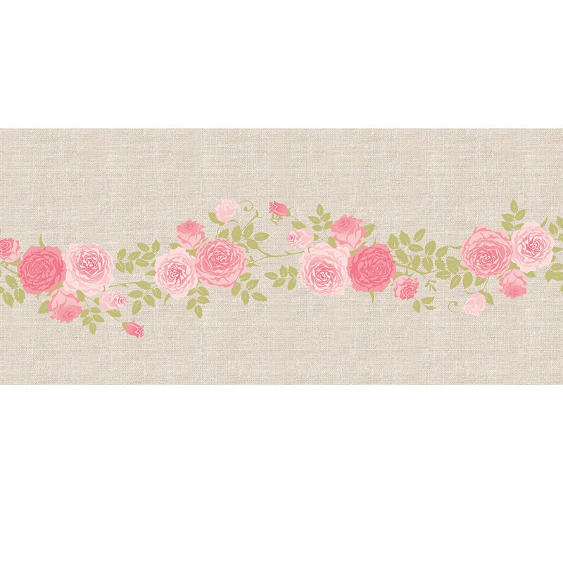 Chemin de table en lin roses rose 28 cm x 5 m chemin - Chemin de table jetable pas cher ...