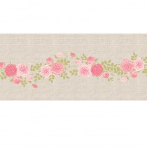 CHEMIN DE TABLE LIN ROSES 28 CM X 5 M