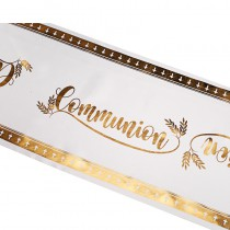 CHEMIN DE TABLE SATIN COMMUNION 28CMX5M