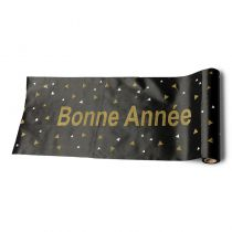 CHEMIN DE TABLE SATIN NOIR 28 CM*5 M
