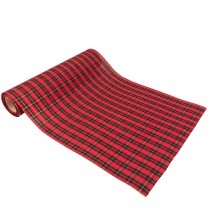 CHEMIN DE TABLE TARTAN FIL OR EFFET JUTE 28CMX5M