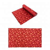 CHEMIN DE TABLE VELOURS XMAS ICONS ROUGE 28CMX3M