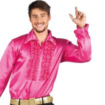 chemise disco homme rose vif