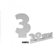 CHIFFRE 3 DE 12CM ARGENT