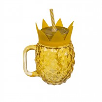 CHOPE EN VERRE FORME ANANAS + PAILLE