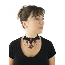 COLLIER GOTHIQUE PIERRES ROUGES