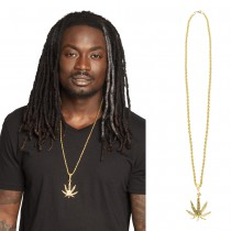 COLLIER HERBE FEUILLE CANNABIS MÉTAL OR