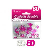 CONFETTIS DE TABLE ROSE 80 ANS