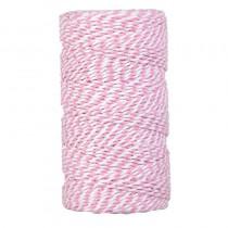 Bobine cordelette rose et blanche de 2 mm par 100 m