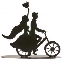 COUPLE DE MARIÉS MÉTAL À BICYCLETTE 18 CM