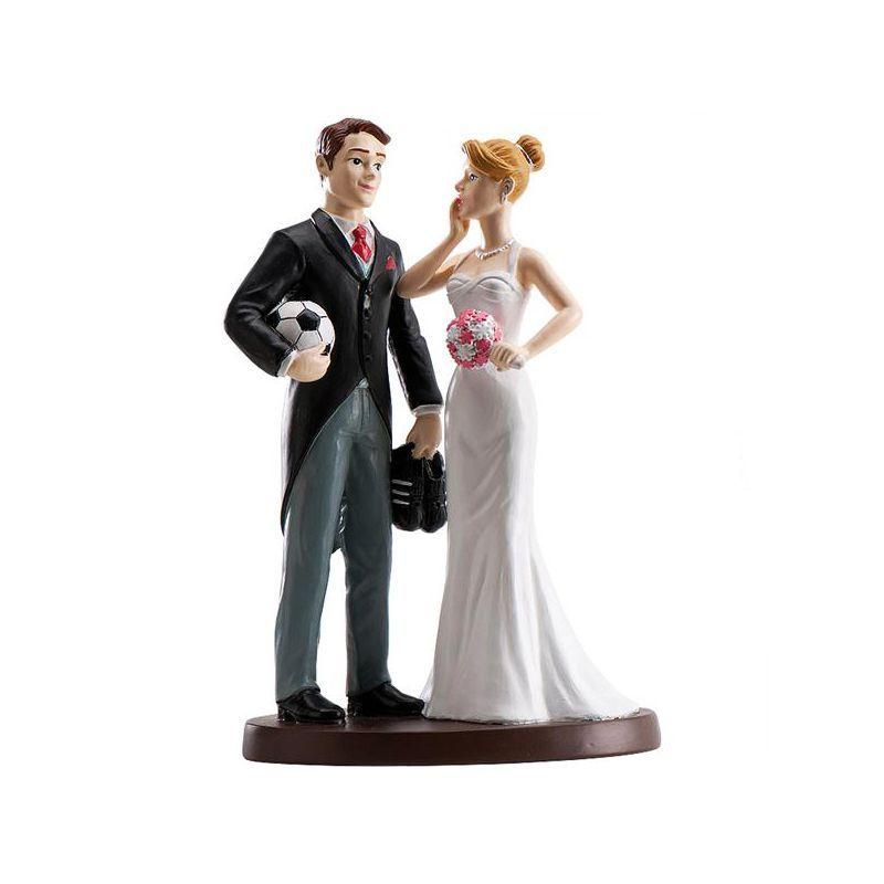 COUPLE MARIAGE FOOTBALLEUR 18 CM