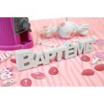 Centre de table baptême blanc 12 cm déco table