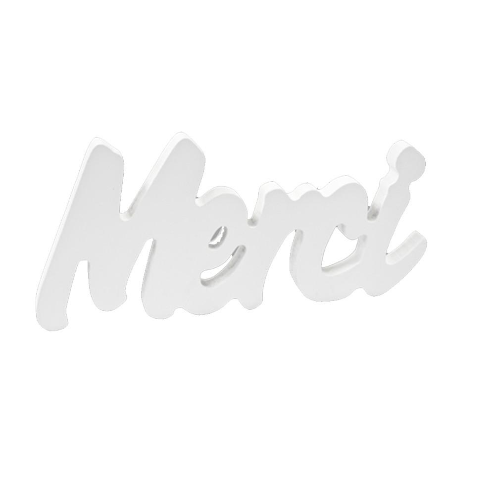 DÉCO TABLE BOIS MERCI 7X15X1CM