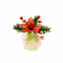 DÉCO TABLE NOËL PIN BAIES POINSETTIA SAC JUTE 13CM