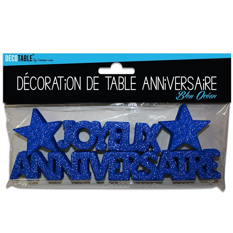 D cor de table anniversaire bleu ocean for Decoration de table bleu