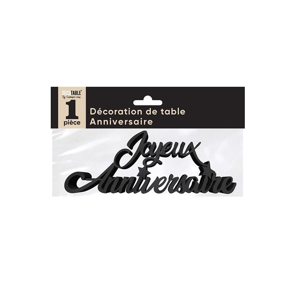 DÉCOR DE TABLE JOYEUX ANNIVERSAIRE 19X7CM NOIR