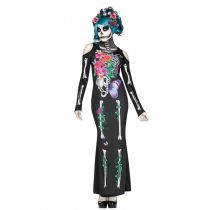 déguisement mexicain skull fleur adulte