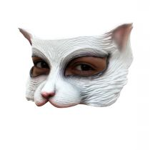 DEMI MASQUE CHATON BLANC LATEX ADULTE
