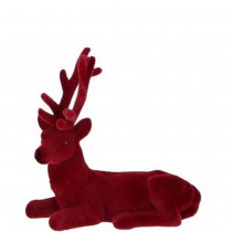 FIGURINE CERF VELOURS ROUGE 14CM