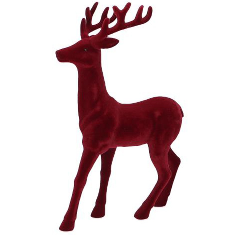 FIGURINE CERF VELOURS ROUGE 45CM