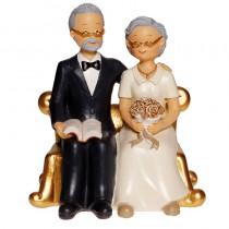 FIGURINE COUPLE PERSONNES AGÉES 15CM