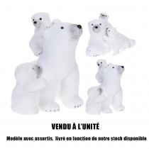 FIGURINE FAMILLE OURS POLAIRE BLANC 2ASS