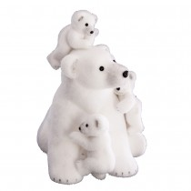 FIGURINE FAMILLE OURS POLAIRE BLANC 46CM