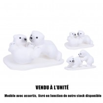 FIGURINE OURSONS POLAIRES BANQUISE BLANC 2ASS