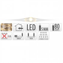 FIL ARGENT 80 LED BLANC CHAUD INTER